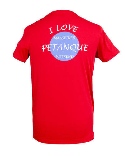 Heren T-shirt Maaseiker Petanque Weekend rood