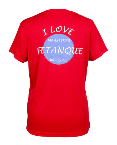 Dames T-shirt Maaseiker Petanque Weekend rood