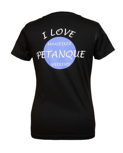 Dames T-shirt Maaseiker Petanque Weekend zwart